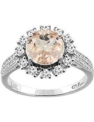 Revoni 14ct oro colgantes redondos Natural anillo de 8 mm acentos de diamante