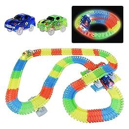 Symiu Pista Macchinine Giocattolo Pista Cars Luminosa Veicoli con Flessibile 240 Pezzi e 2 LED Cars per Bambini 3