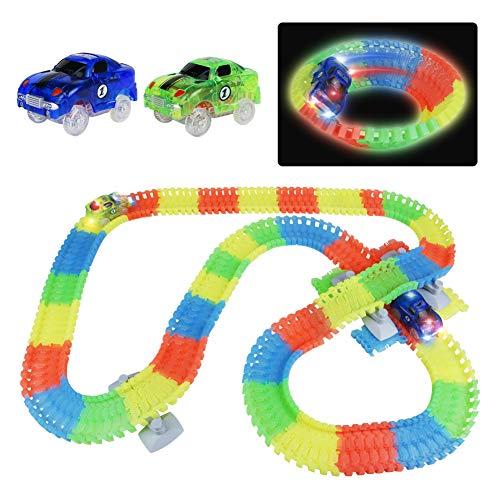 n Glow Track mit LED Auto Spielzeug und 240 Stück Tracks, Autobahn Kinder Racetrack Spielset Geschenk für Kinder Junge Mädchen ab 3 4 5 Jahre Alt (MEHRWEG) ()