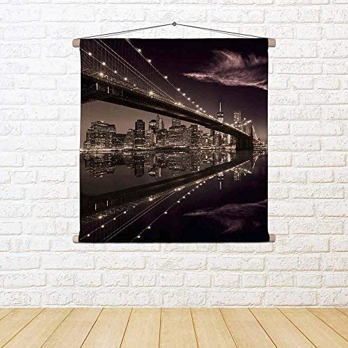 ArtzFolio Brooklyn Bridge in Manhattan Skyline, New York USA USA USA Satin Painting Tapestry Wall Hanging 52 X 52Inch 742e10