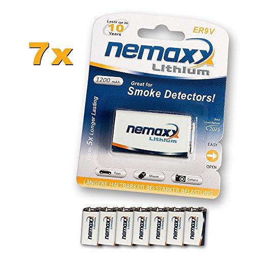 7x Nemaxx Lithium 9V Block Batterie Set für Rauchmelder 10 Jahre Lebensdauer