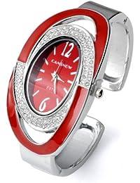 Better Dealz Damen Armbanduhr Oval Nebelfleck Quarzuhr Damenuhr Armband SPANGENUHR GESCHENK,Rot