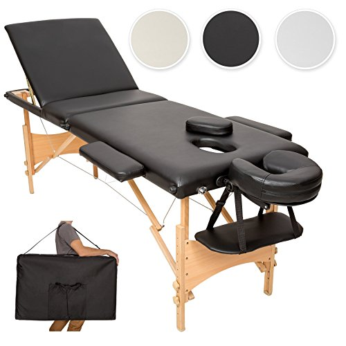 TecTake Lettino massaggi portatile massaggio fisioterapia 3 zone pieghevole + borsa - disponibile in diversi colori - (Nero | No. 401466)