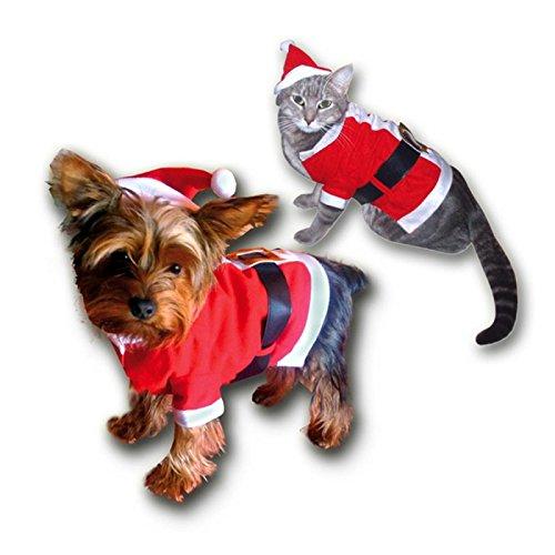 hundeinfo24.de 3 – teiliges Weihnachtskostüm / Weste für kleine Hunde oder Katzen