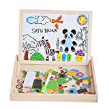 #8: Wooden Drawing Double Sided Magnetic Puzzle Black White Board with Different Color Pen for Kids (Multicolor) Board Game