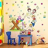 Bunte Punkte Musik Hinweis Cartoon Tier Stern Wandaufkleber Für Kinderzimmer Baby Room Home Decoration Wandtattoo Poster