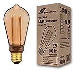 greenandco® Vintage Design LED Lampe im Retro Stil zur Stimmungsbeleuchtung E27 ST64 Edison Glühbirne, 4W 200lm 1800K extra warmweiß 300° 230V flimmerfrei, nicht dimmbar 2 Jahre Garantie
