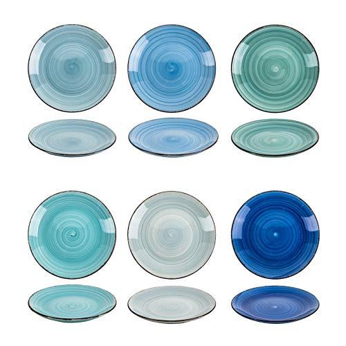 esto24 Design 6er Set Kuchenteller Dessertteller ESS Teller Porzellan19cm tollen Farben (Kuchenteller Blautöne)