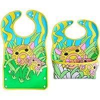 BOMIO | großes Lätzchen mit faltbarer Auffangschale | für Babys und Kleinkinder | wasserabweisend und leicht abwaschbar | kindgerechte Tiermotive | geprüft nach EN 71
