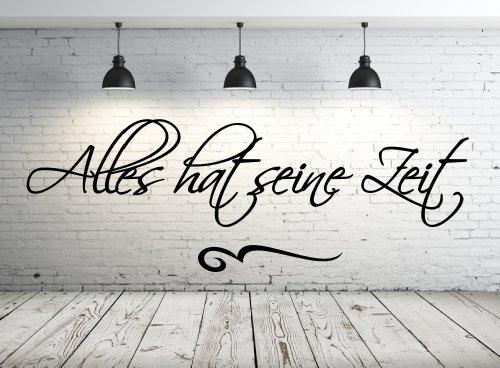 Wandtattoo 68085-58×20 cm, ~ Spruch: Alles hat seine Zeit ~ Wandaufkleber Wandtatoos Sticker Aufkleber für die Wand, Fensterbild, Tapetensticker, Türaufkleber, Tattoo aus Markenfolie – aus 32 Farben