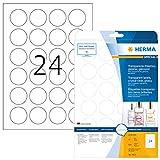 Herma 8023 Wetterfeste Folienetiketten rund, glasklar (Ø 40 mm) 600 Aufkleber, 25 Blatt A4 Klebefolie, glänzend, bedruckbar, selbstklebend
