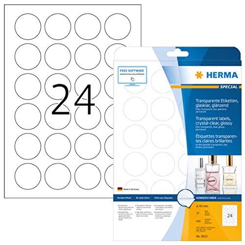 Herma 8023 Wetterfeste Folien-Etiketten rund, transparent glasklar (Ø 40 mm) 600 Aufkleber, 25 Blatt DIN A4 Klebefolie, glänzend, bedruckbar, selbstklebend