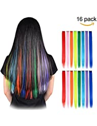 Hair extensions amazon feshfen 16 pcs 8 colors straight clip in hair extensions pmusecretfo Image collections