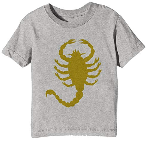 Conducir Escorpión Niños Unisexo Niño Niña Camiseta Cuello Redondo Gris Manga Corta Tamaño XS Men's Grey T-Shirt Extra Small Size XS