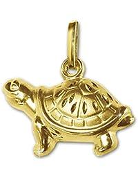CLEVER SCHMUCK Goldener Anhänger Schildkröte 15 x 7 mm beidseitig plastisch firgürliche Form, eine Seite glänzend, die andere matt diamantiert 333 GOLD 8 KARAT
