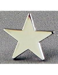 Pin de metal esmaltado, insignia broche estrella plateada (chapado en rodio)