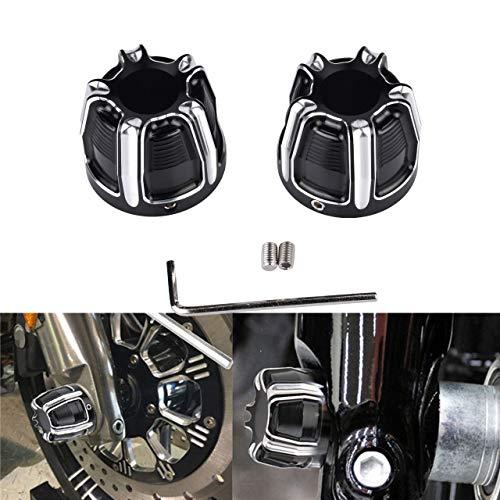 TUINCYN Lot de 2 Cache-écrous en Aluminium pour Moto Harley Sportster Softail Fat Boy Dyna V-Rod Touring Street Glide Noir/chromé