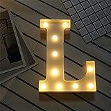 DIY LED Brief Beleuchtung Alphabet Event Dekoration Nachtlichter Stimmungslicht Schlummerleuchten Lampen Kunststoff Dekorationen für Geburtstag Party Hochzeit (L)