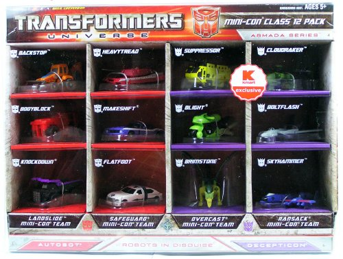 Transformers - Universe - K-Mart Exclusive - Mini-Con Class 12-Pack - 3.5 Inch Robot Action Figuren - 4 Mini-Con Teams - Landslide Mini-Con Team mit Backstop & Bodyblock & Knockdown - Safeguard Mini-Con Team mit Heavytread & Makeshift & Flatfoot - Overcast Mini-Con Team mit Suppressor & Blight & Brimstone - Ransack Mini-Con Team mit Cloudraker & Boltflash & Skyhammer - OVP