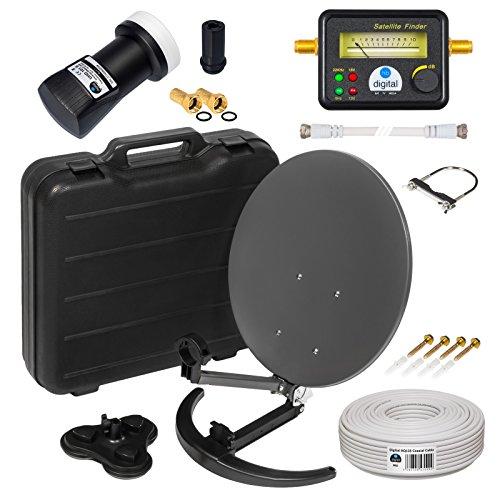 HD Camping Sat Anlage im Koffer von HB-Digital:  Mini Sat Schüssel 40cm Anthrazit ➕ UHD Single LNB 0,1 dB ➕ SF777 SATFINDER ➕ 10m Sat-Kabel inkl. F-Stecker  4K UHD Full HD 1080p fähig