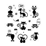 DOMYBEST Mignon Chat Amovible Stickers Muraux Stickers Salon Accueil enfants Chambre Décor