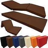 Colchón plegable compacto 190 x 60 x 7 cm Confortable colchón plegable / Colchón para invitados con funda de microfibra - Funciona tanto como colchón para visitas o para dormir fuera de casa , Color:Marrón