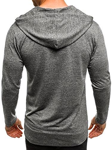 OZONEE Herren T-Shirt mit Motiv Kurzarm Rundhals Figurbetont BREEZY 459 Grau_MAD-X1289B