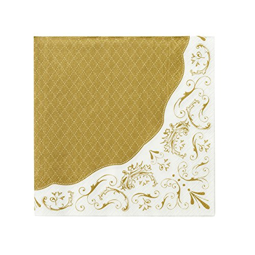 Talking Tables Gold Party Decorations | Gold Napkins | White & Gold Napkins | Great For Wedding, Hen Party, Christmas And Birthday Decorations | Paper, 20 Pack