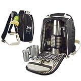 Picknickrucksack aus robustem Polyester mit integrierter Kühltasche uvm. für 2 Personen - schwarz (6660)