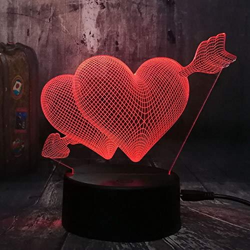 ZCHPDD Valentinstag Romantische Liebe 3D Pfeil Durch Herzförmige Led Nachtlicht Tischlampe Hochzeit Schlafzimmer Dekoration Paar Liebe Sieben Farben 155 * 192 * 87 Mm (Remote Touch Basis)