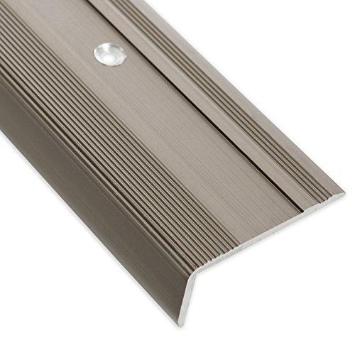Treppenkantenprofil Glory | bronze dunkel | L-Form | inklusive rutschhemmender Vinyl-Einlage | 17mm Höhe | Erhältlich in 4 Farben und 3 Längen (90cm) - Laminat-einlage