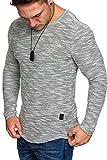 Amaci&Sons Oversize Vintage Herren Pullover Hoodie Sweatshirt Crew-Neck 6024 Grau L