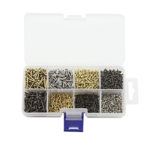 OMYZON 8 verschiedene Arten von kleinen hölzernen Nägel und selbstschneidende Schrauben Combination Toolbox Kupfer Nail Iron Nail Schrauben 1600pcs (Messing-schrauben Mit Holz 8 X 1 2)