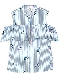 FIND Camisa de Rayas con Hombros al Aire para Mujer