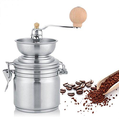 ZNXJJ Manuelle kaffeemühle Edelstahl Kaffee Mahlen Mühlen - Maschine mit Keramik - Mühlstein Küche Hand kaffeemühle