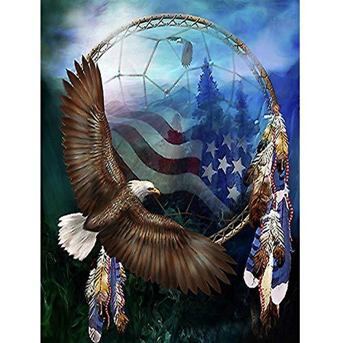 Voll 5D DIY Daimond Malerei Kreuzstich Indian Eagle 3D Diamant Mosaik Volle Runde Strass Malereien Stickerei Tiere 40x50cm -