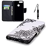 Huawei P Smart Hülle, Huawei P Smart Tasche Leder, Huphant Flip Case Leder [Knife-Shaped Magnet Painting with Lanyard Serie]PU Leather Case Wallet Case Magnet Case Book Case Schutzhülle Klappbar für Huawei P Smart (5,9 Zoll)+1X Schwarzer Stylus Touchscreen Pen - Black Flower