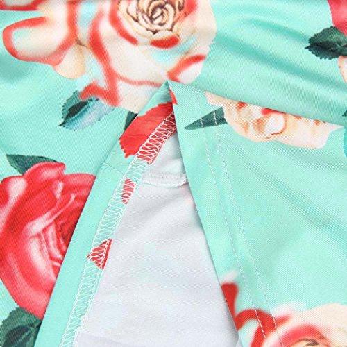 Damen Blumen drucken Aus Schulter T Shirt Amlaiworld Kurzarm Beiläufig Bluse himmelblau
