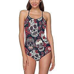 VunKo - sin espalda con diseño de una pieza para mujer y adolescente, red (skull)