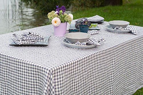 Lin Mode : délavé 100% lin Nappe en violet et blanc Vérifie, 100 % lin, Violet / white, ± 140cm x 300cm (55\