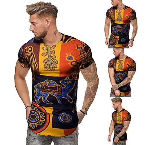 Aiserkly Mode Herren Sommer schlank lässig afrikanischen Print Oansatz Fit Kurzarm Top Bluse Mehrfarbig XL