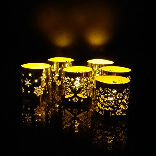 WhitePavo Flickering LED TeaLight Candles - Yellow Flame with XMAS Designer Paper Votive Wraps Christmas Decorations