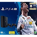 Sony PlayStation 4 Pro 1TB with 2 DUALSHOCK 4 Controllers, FIFA 18 Bundle - Black