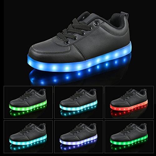 Leadfas Led Shoes, 7 Colori Light Up Sneaker Unisex Uomo Donna Sport Outdoor Athletic Usb Charging Trainer Per Giorno Del Ringraziamento Natale Halloween Regalo Led Sneaker Nero