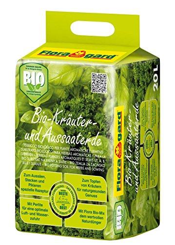Floragard Bio Kräuter- und Aussaaterde 20 L • torfreduzierte Bio-Spezialerde • mit Bio-Naturdünger und Perlite • für Aussaaten - 20 20 Bio-dünger 20
