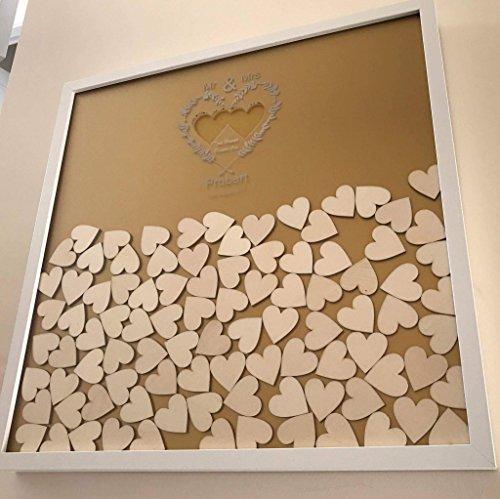 Hochzeitsgästebuch Herz Drop Box 130Herzen und Farbe wahl Andenken und Geschenk Hochzeit Jahrestag Geburtstag Rustikaler Shabby Chic, holz, Weißer Rahmen, The frame is 52cm x 42cm. The hearts are 4cm.