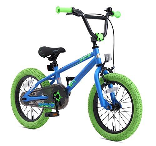 BIKESTAR Bicicletta Bambini 4-5 Anni da 16 Pollici ★ Bici per Bambino et Bambina BMX con Freno a retropedale et Freno a Mano ★ Blu & Verde - 2