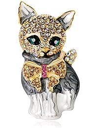 Merdia Sparkly Swan Brooch with Beautiful Created Cat's Eye for Elegant Women 1WWym9o