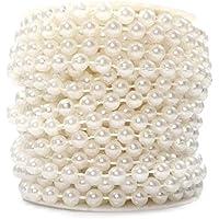 Sepkina Perlenband Perlenkette Perlengirlande Perlenschnur Weihnachten Advent Hochzeit Deko Tischdeko Meterware 10 Meter (S-P6-01-weiss-10m)