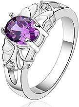 fashion 925 de plata de ley joyería morado zircon anillo estilo elegant hueca tamaño 7